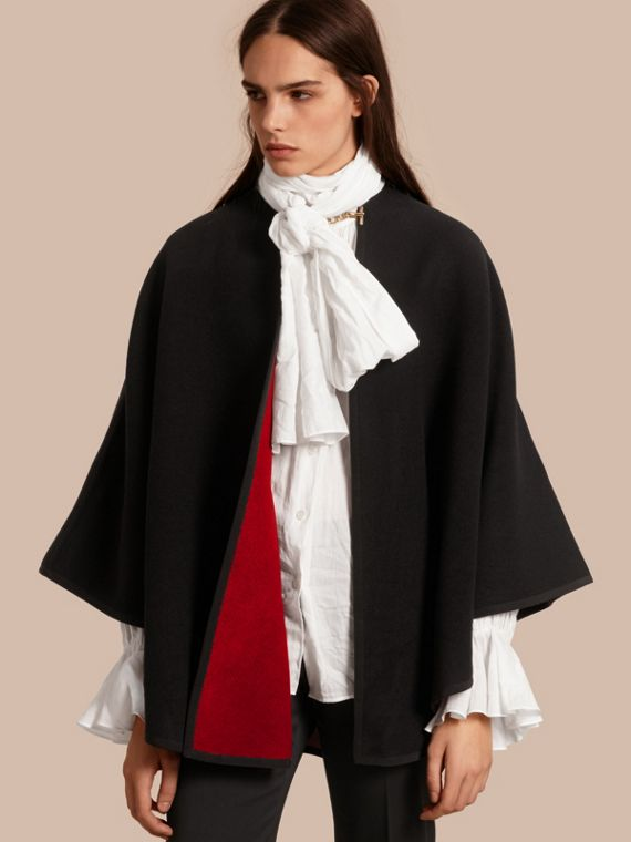 Wool Cashmere Military Cape in Black/parade Red