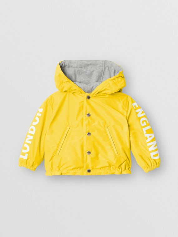 Reversible Logo Print Hooded Jacket in Bright Yellow