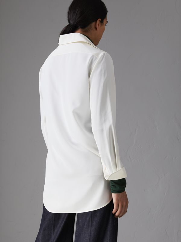 Silk Tunic Shirt in Natural White - Women | Burberry Singapore - cell image 2