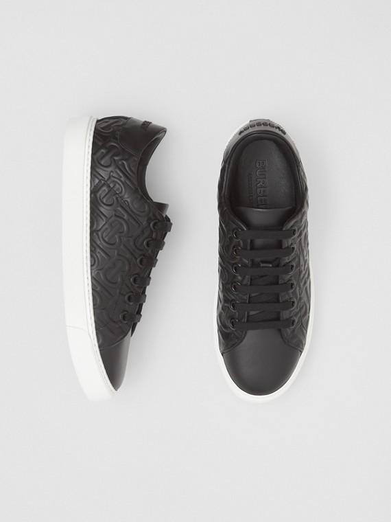 Monogram Leather Sneakers in Black
