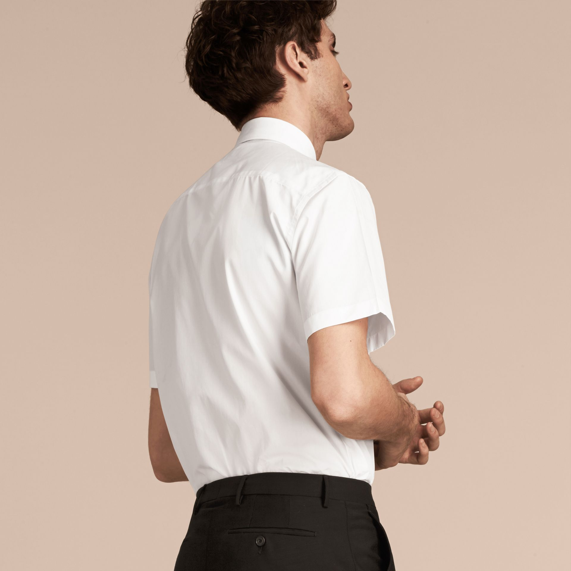 Modern Fit Short-sleeved Cotton Poplin Shirt - Men | Burberry - gallery image 3