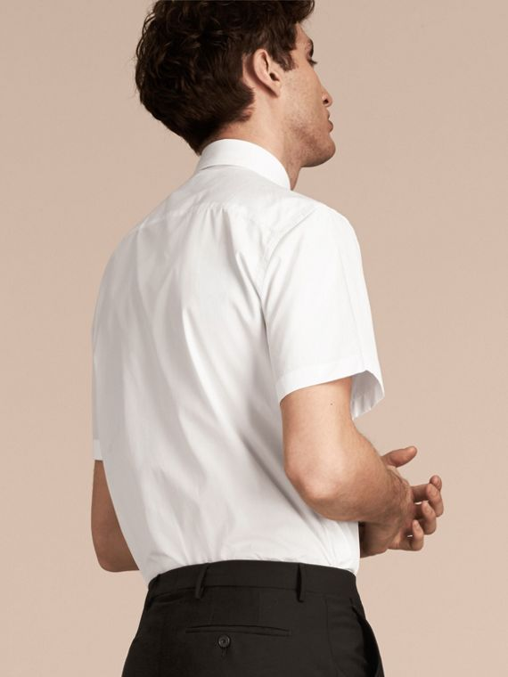 Modern Fit Short-sleeved Cotton Poplin Shirt - Men | Burberry - cell image 2