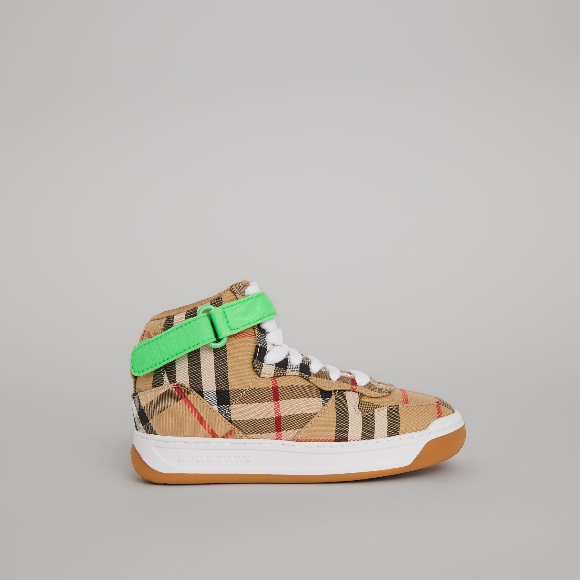 Vintage Check High-top Sneakers in Antique Yellow/neon Green | Burberry United Kingdom - gallery image 3