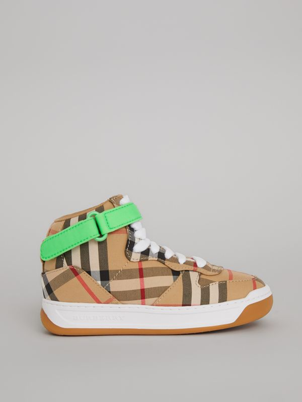 Vintage Check High-top Sneakers in Antique Yellow/neon Green | Burberry United Kingdom - cell image 3