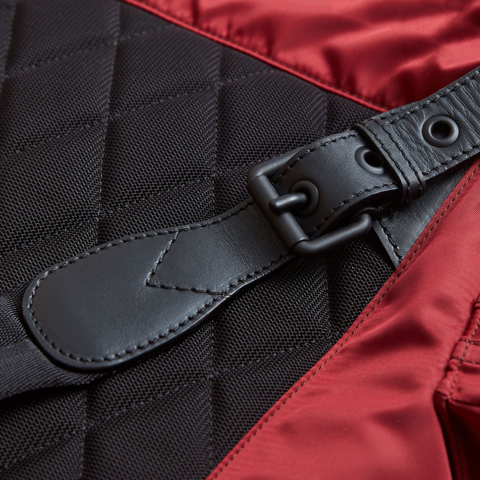 The Large Rucksack in Technical Nylon and Leather in Antique Red - Men | Burberry - gallery image 6