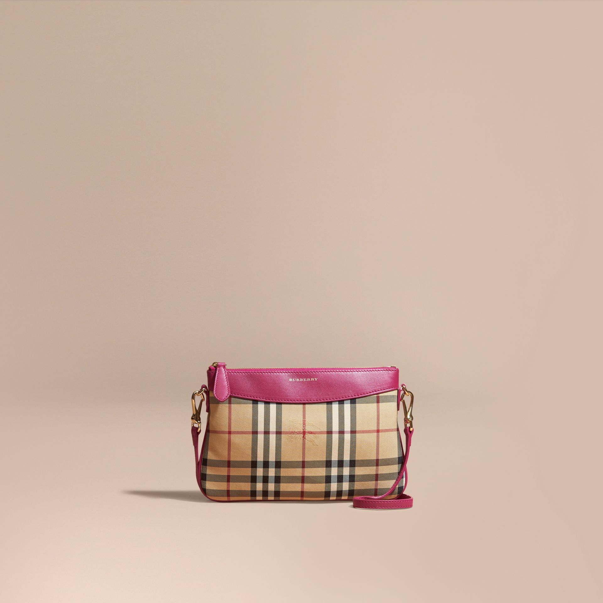 Horseferry Check and Leather Clutch Bag Brilliant Fuchsia - gallery image 9