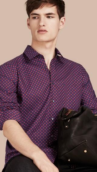 Modern Fit Tie Print Cotton Shirt