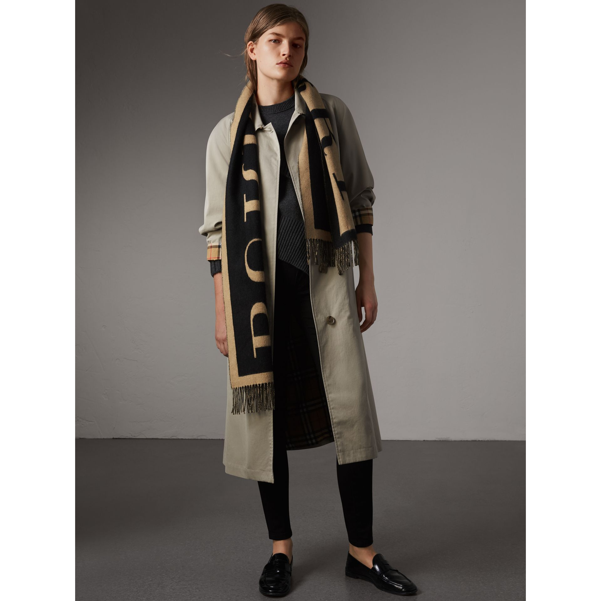 Emblem Print Cashmere Scarf in Camel | Burberry United Kingdom - gallery image 3