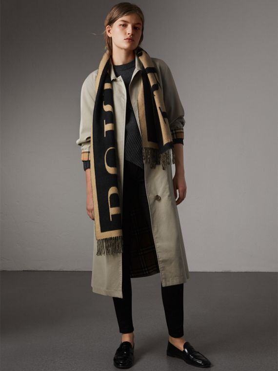 Emblem Print Cashmere Scarf in Camel | Burberry United Kingdom - cell image 3