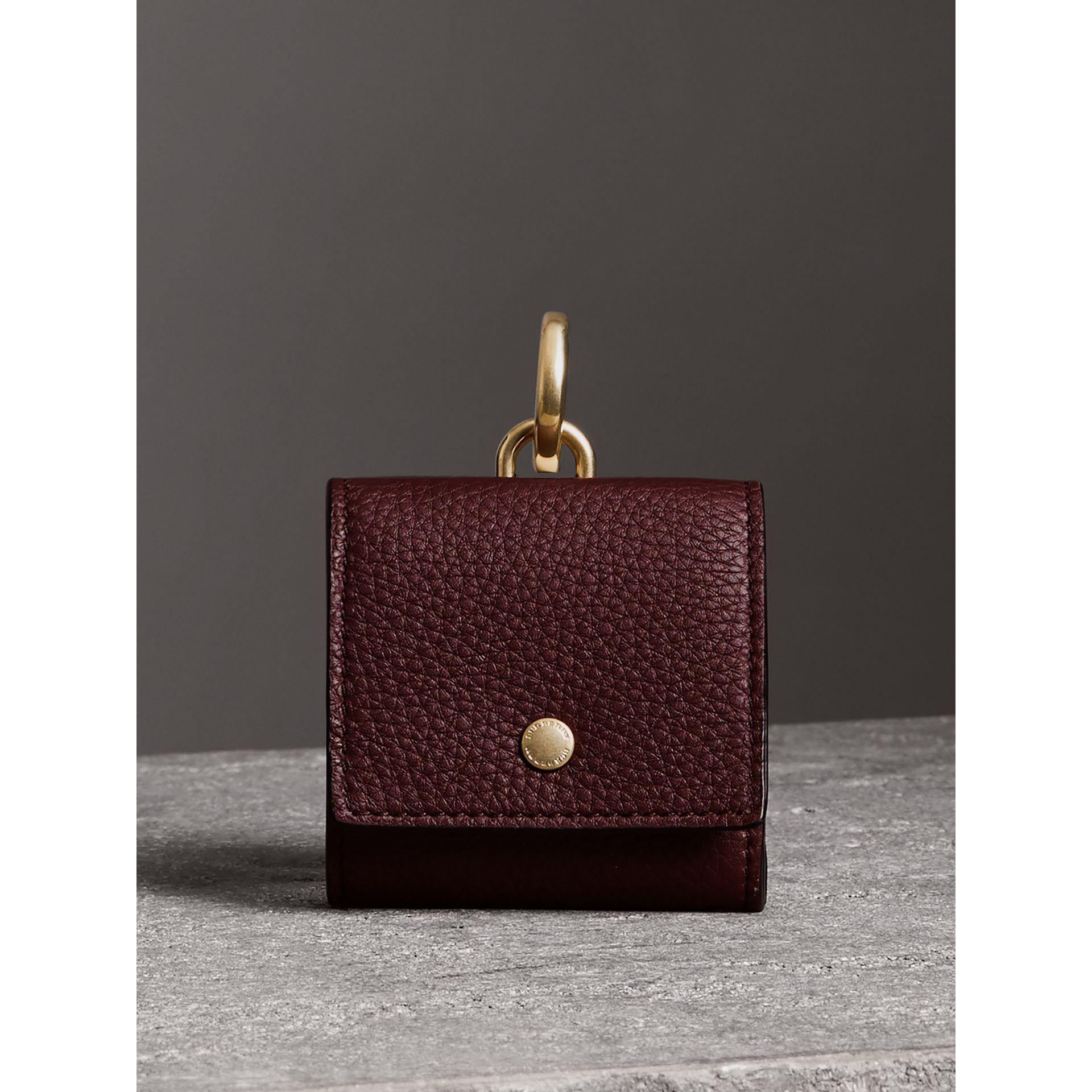 Small Square Leather Coin Case Charm in Deep Claret/limestone - Women | Burberry - gallery image 5