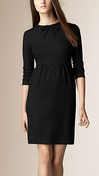 Bow Detail Wool Dress