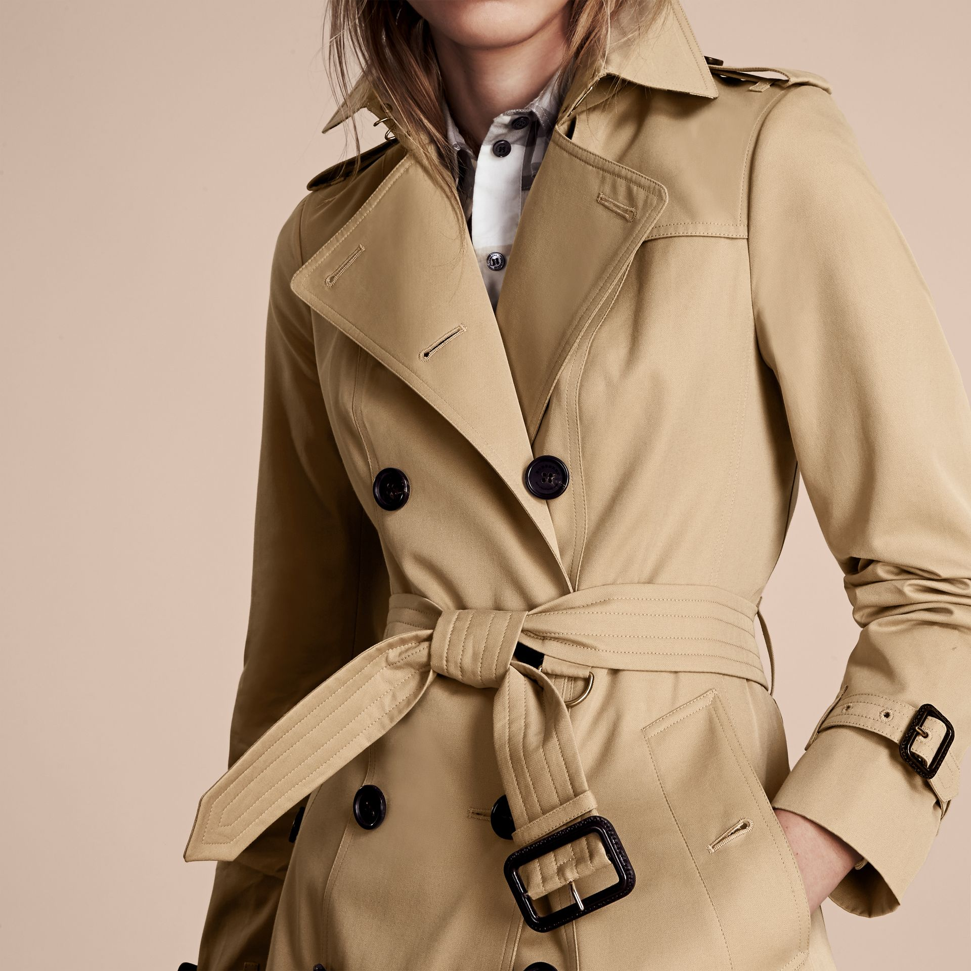 Honey The Sandringham – Short Heritage Trench Coat Honey - gallery image 6