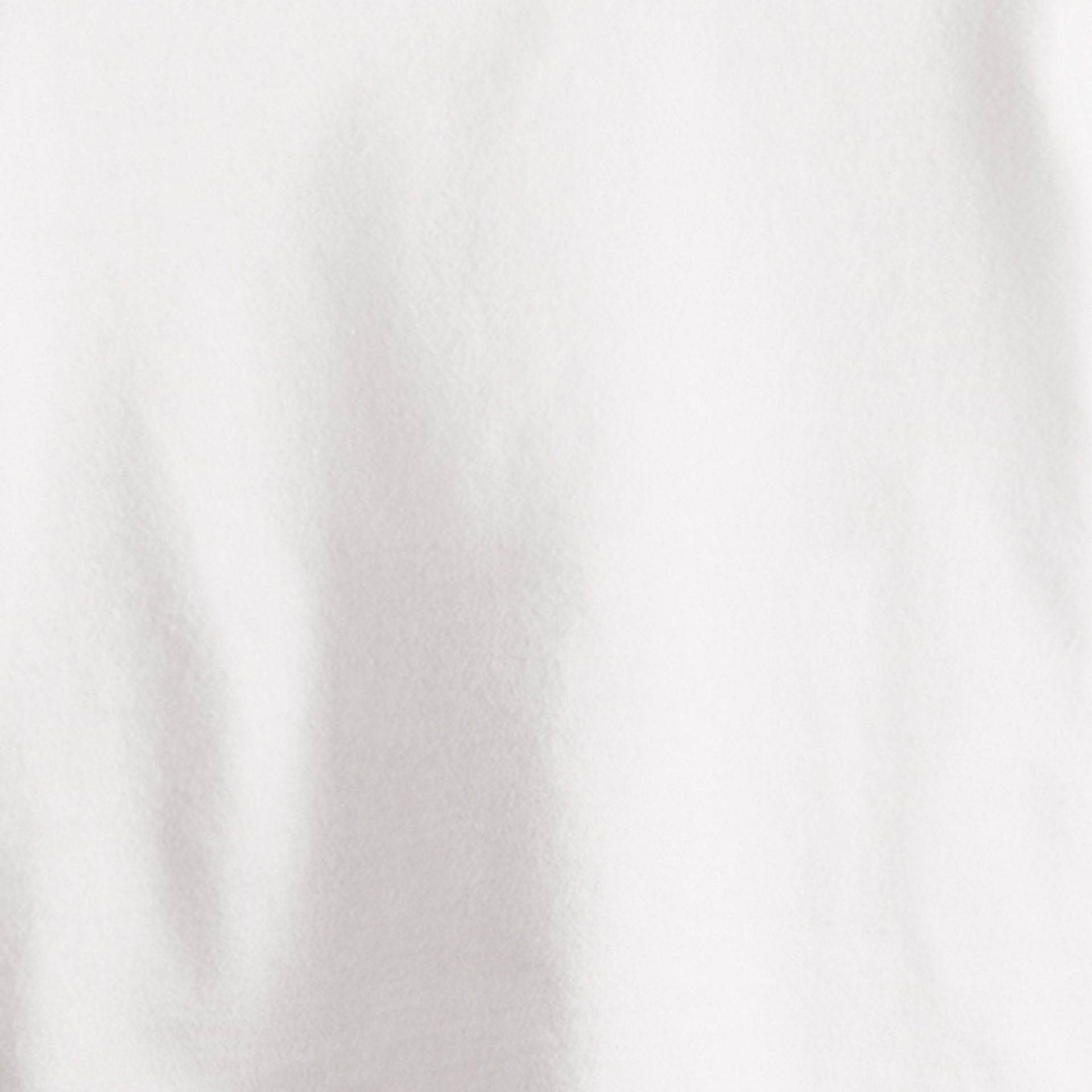 Check Cuff Cotton T-Shirt in White - Girl | Burberry - gallery image 2