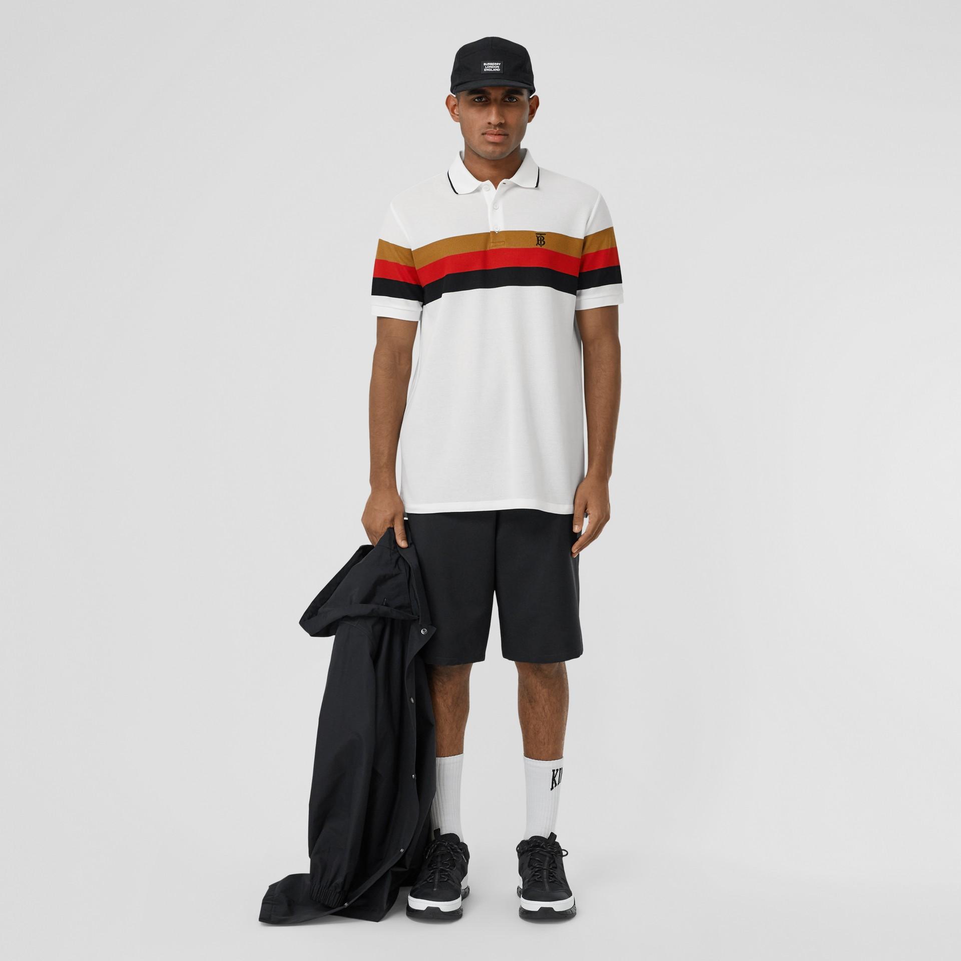 Monogram Motif Striped Cotton Polo Shirt in White - Men | Burberry - gallery image 4