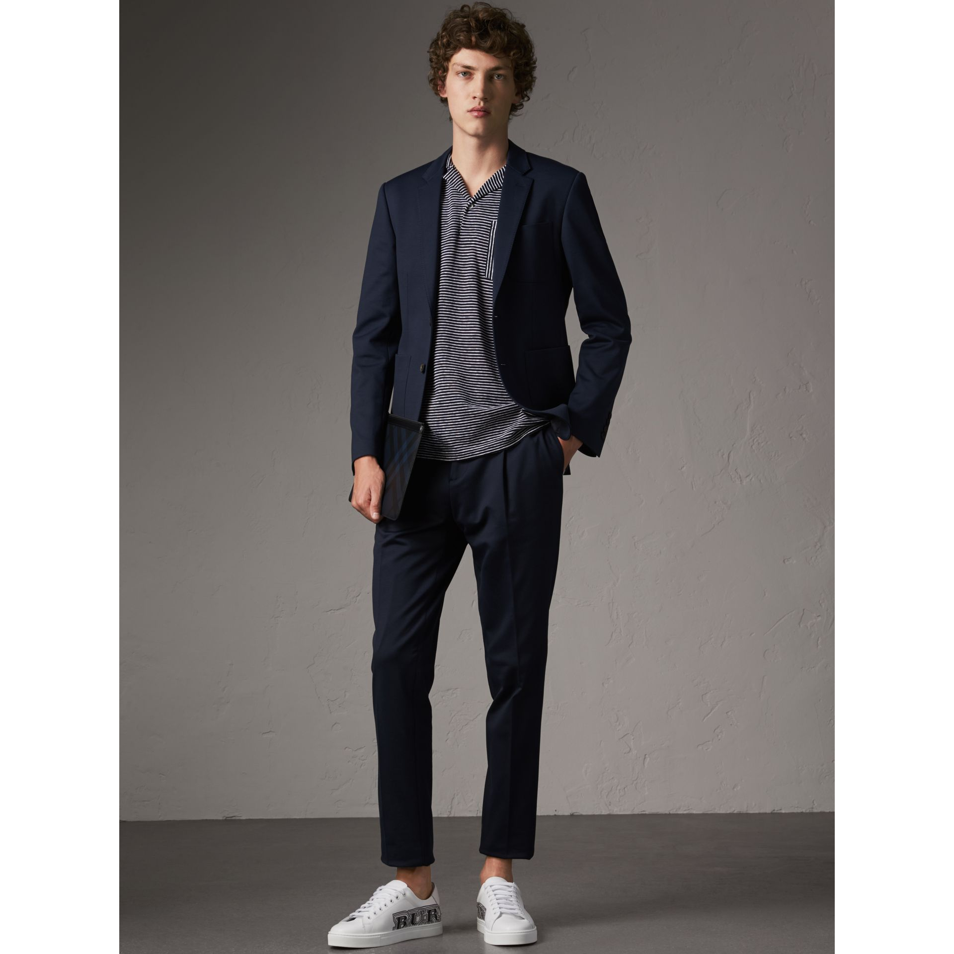 Slim Fit Cotton Blend Travel Tailoring Suit in Navy - Men | Burberry - gallery image 1