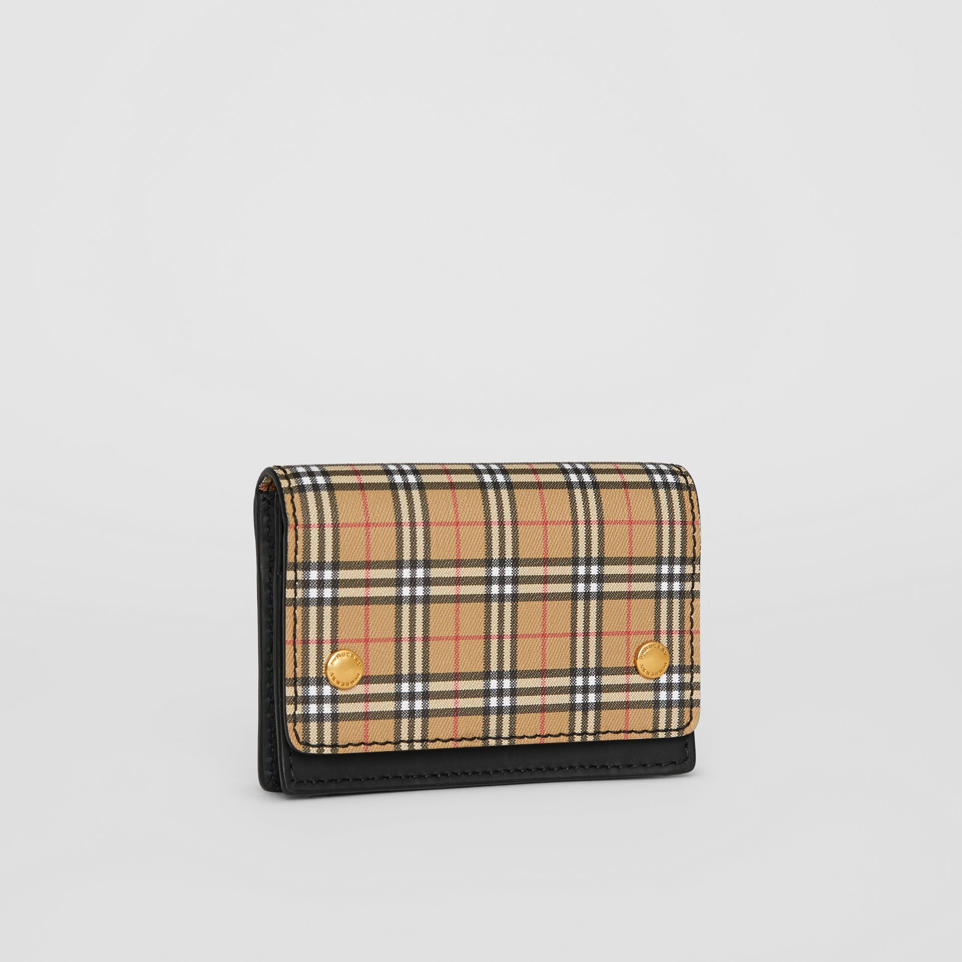 Small Scale Check and Leather Folding Card Case in Antique Yellow - Women | Burberry - gallery image 4