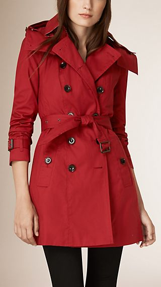 Hooded Cotton Trench Coat with Warmer