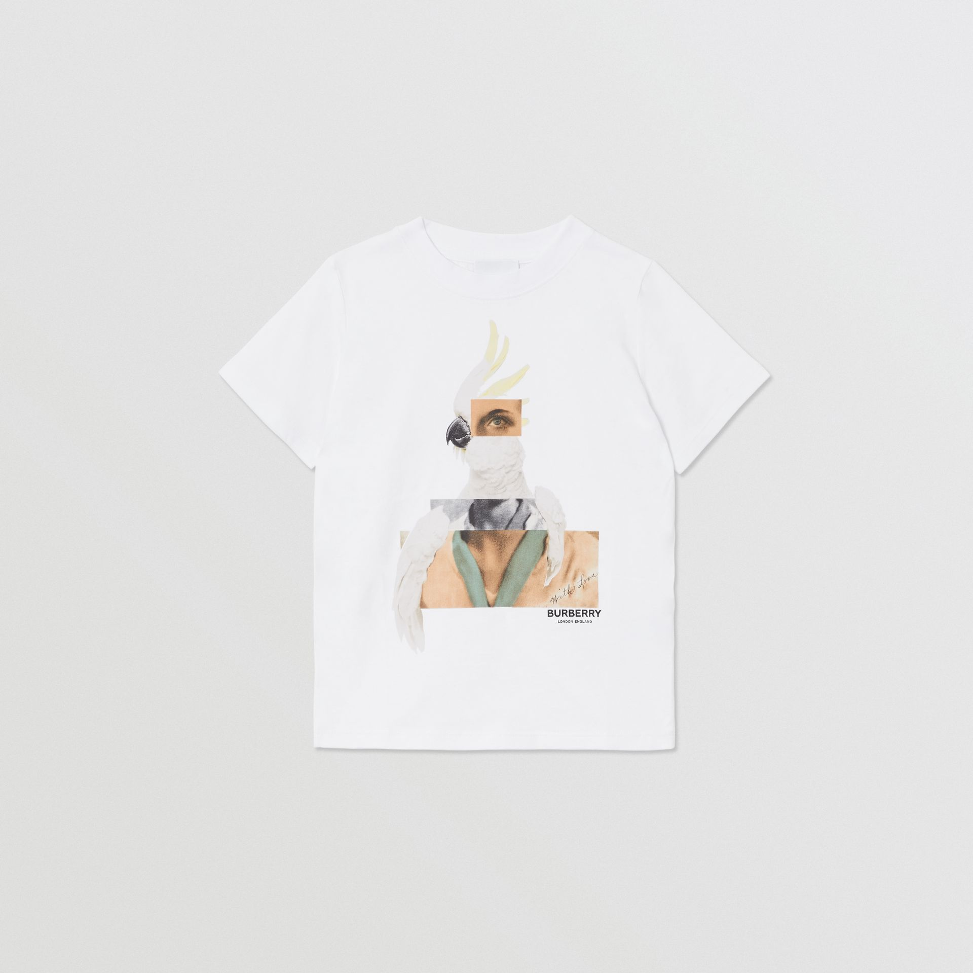 Collage Print Cotton T-shirt in White | Burberry - gallery image 0