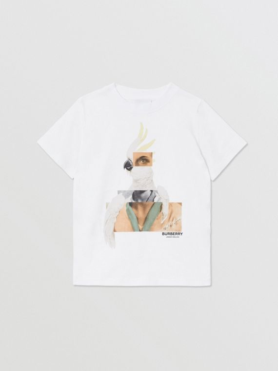 Collage Print Cotton T-shirt in White