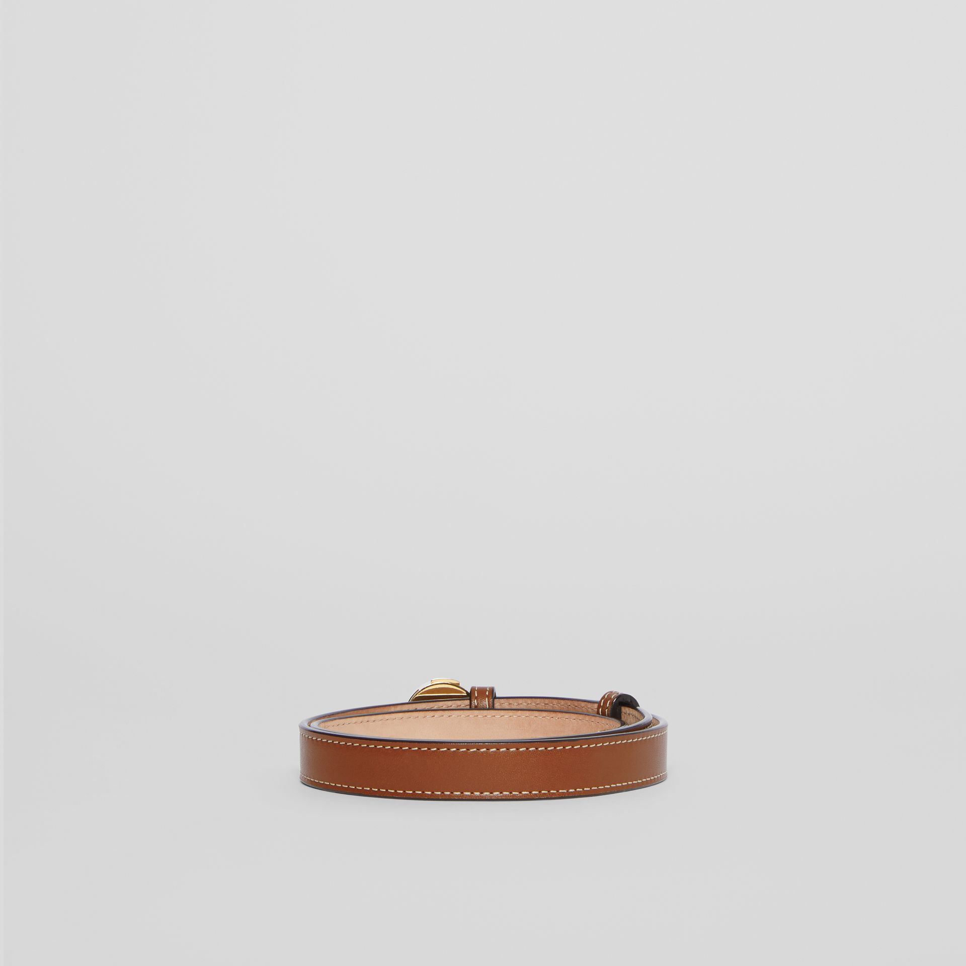 Monogram Motif Leather Belt in Tan - Women | Burberry - gallery image 4