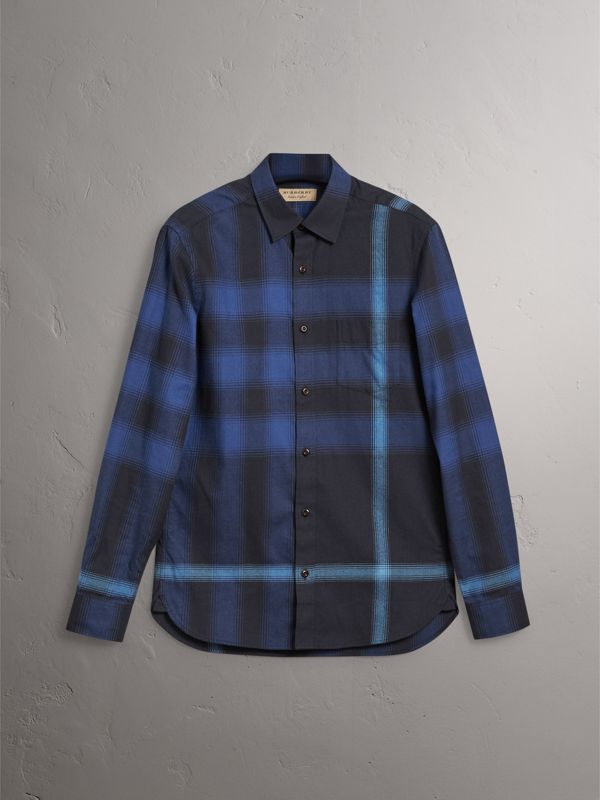 Ombré Check Cotton Flannel Shirt in Cobalt Blue - Men | Burberry - cell image 3