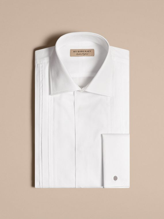 White Modern Fit Double-cuff Pleat Bib Cotton Dress Shirt - cell image 3