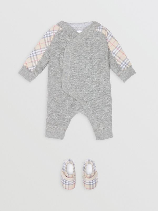 Check Detail Cotton Diamond Quilted Jumpsuit in Grey Melange - Children | Burberry - cell image 2