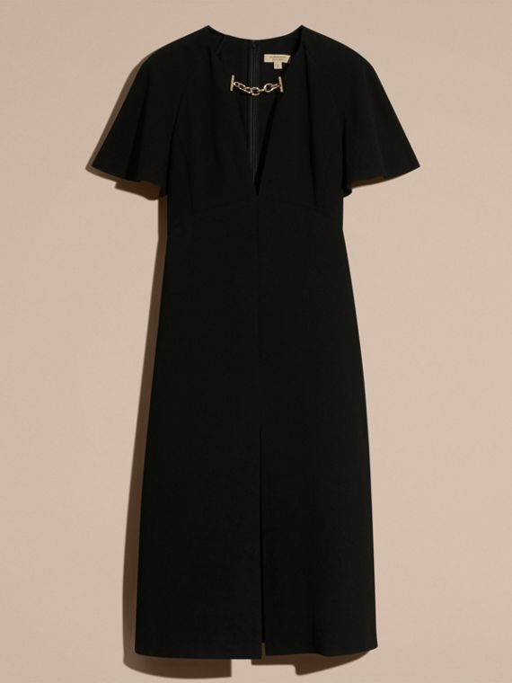 Flared-sleeve Chain Detail V-neck Technical Dress - cell image 3