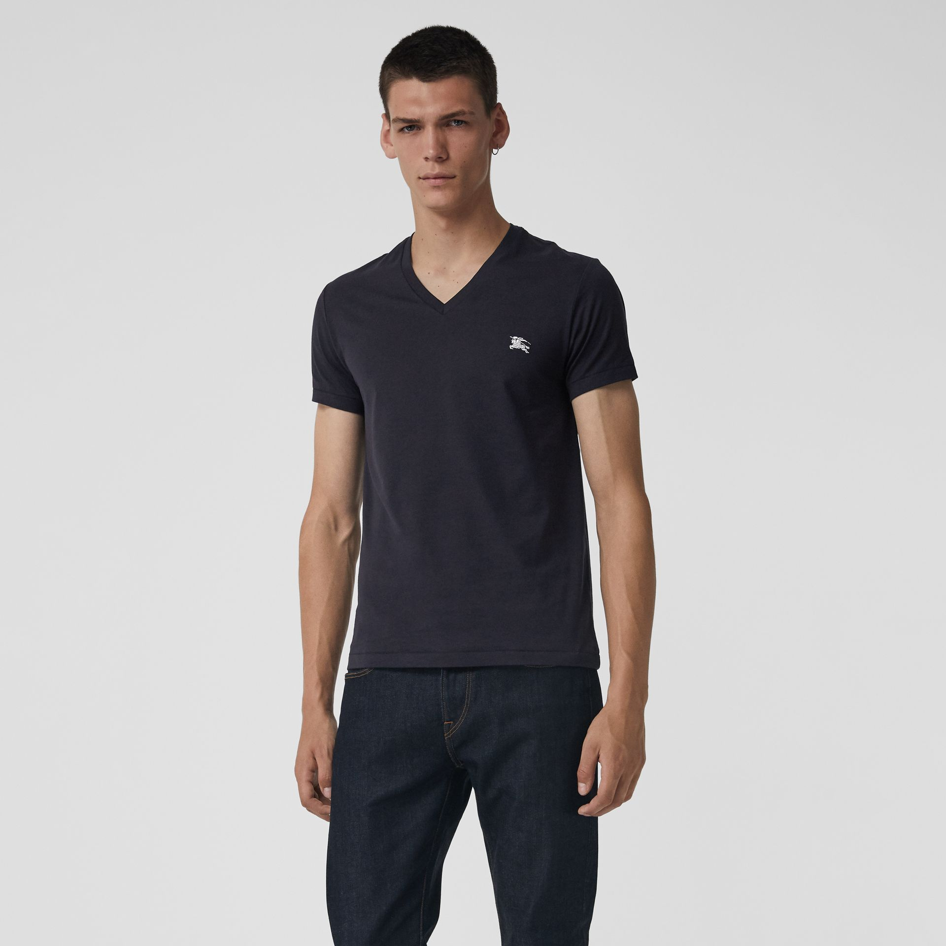 Cotton Jersey V-neck T-shirt in Navy - Men | Burberry - gallery image 0