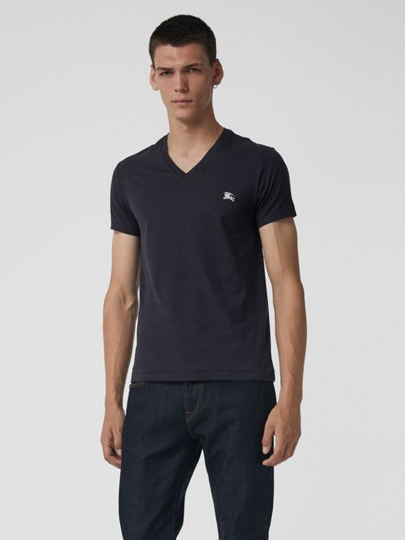Cotton Jersey V-neck T-shirt in Navy
