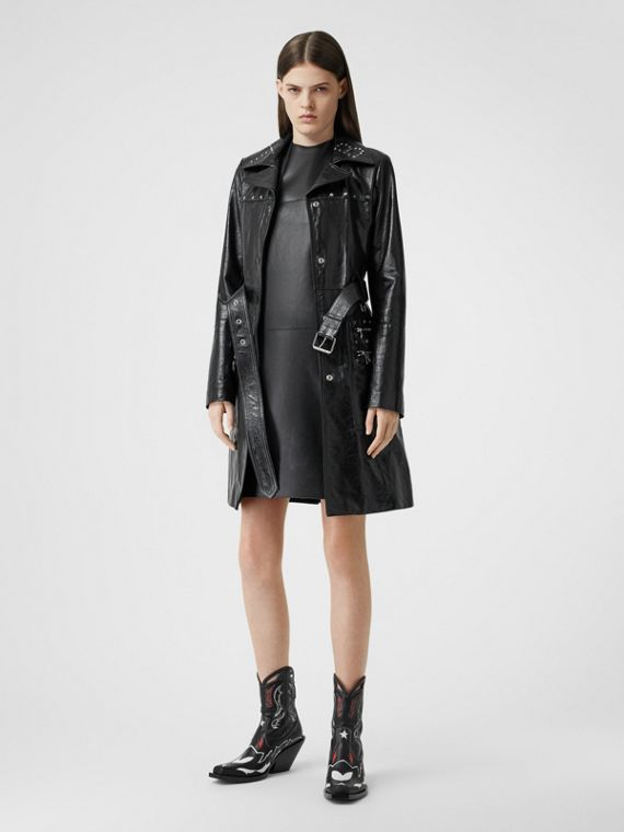 Studded Crinkled Leather Trench Coat in Black