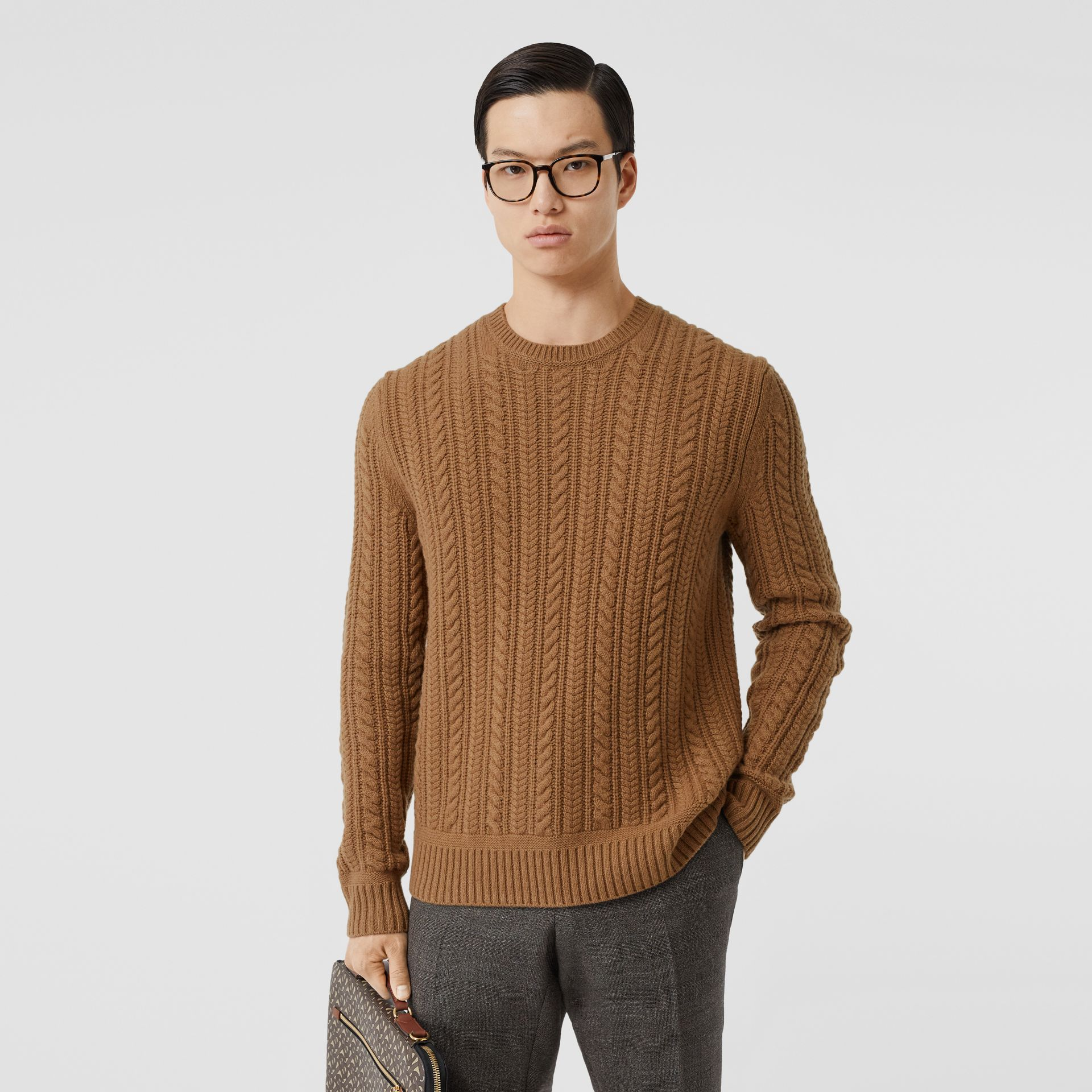 Cable Knit Cashmere Sweater in Maple - Men | Burberry United Kingdom - gallery image 5