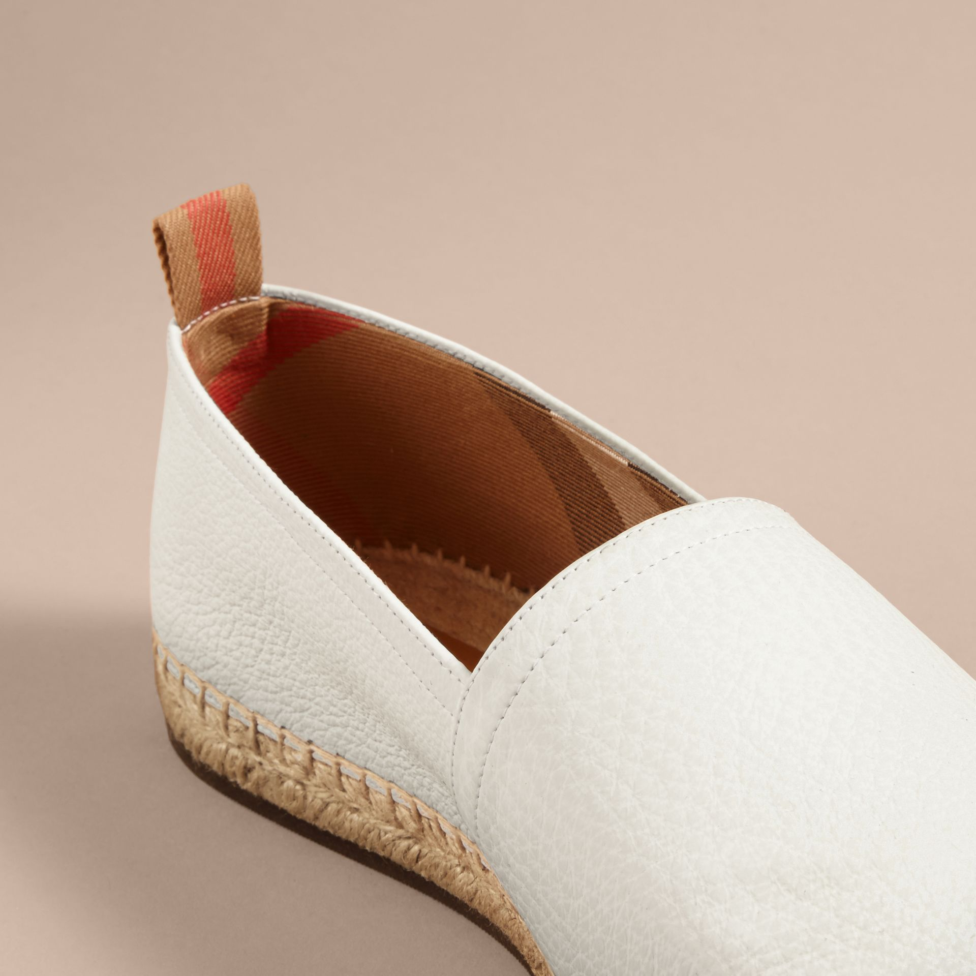 Check Detail Leather Espadrilles in Optic White - gallery image 2