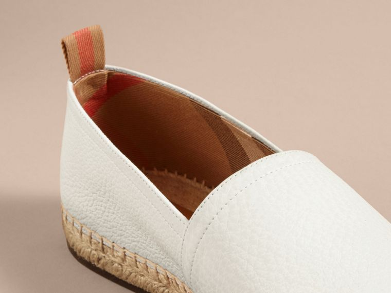 Check Detail Leather Espadrilles in Optic White - cell image 1