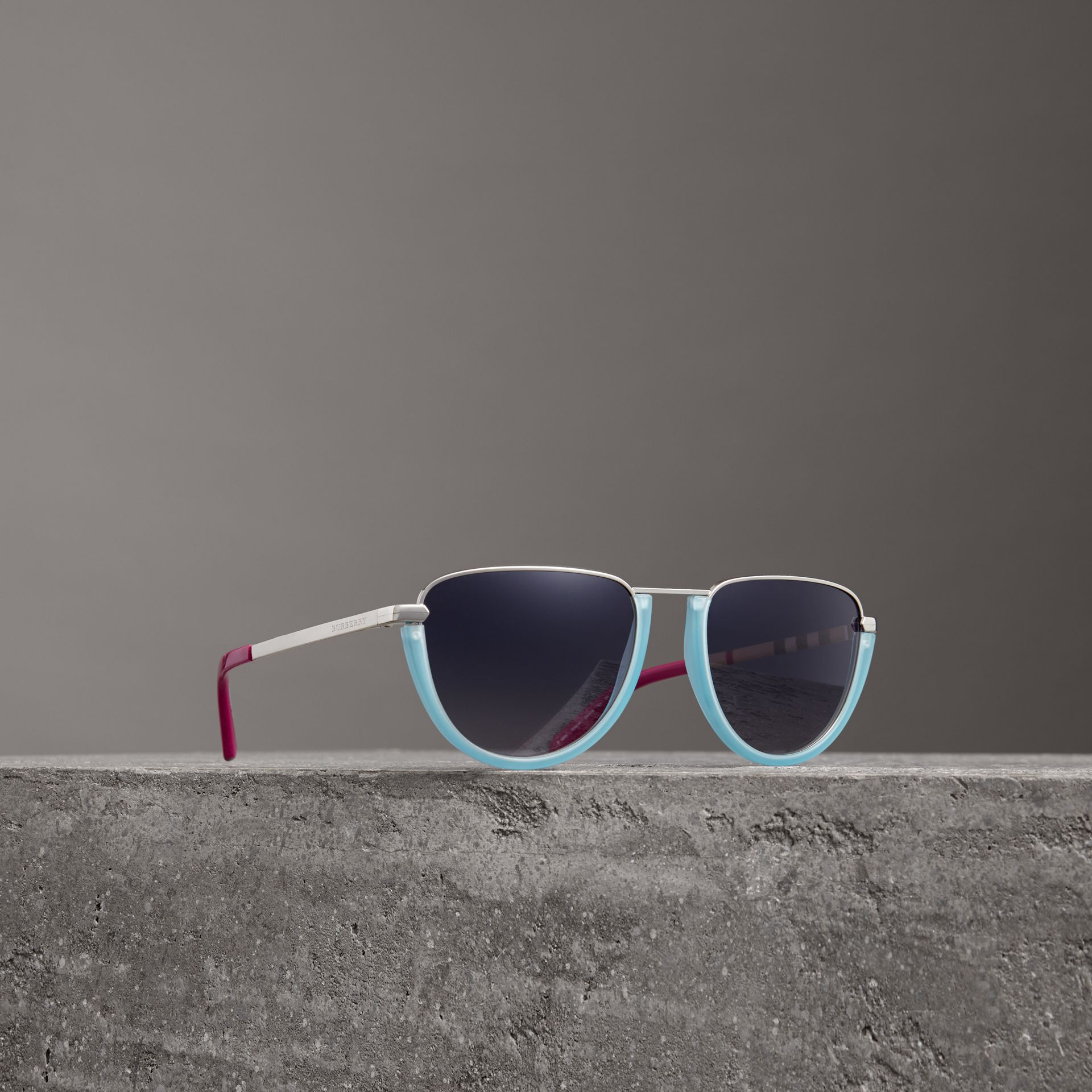 Half Moon Pilot Round Frame Sunglasses in Pale Blue - Women | Burberry - gallery image 0