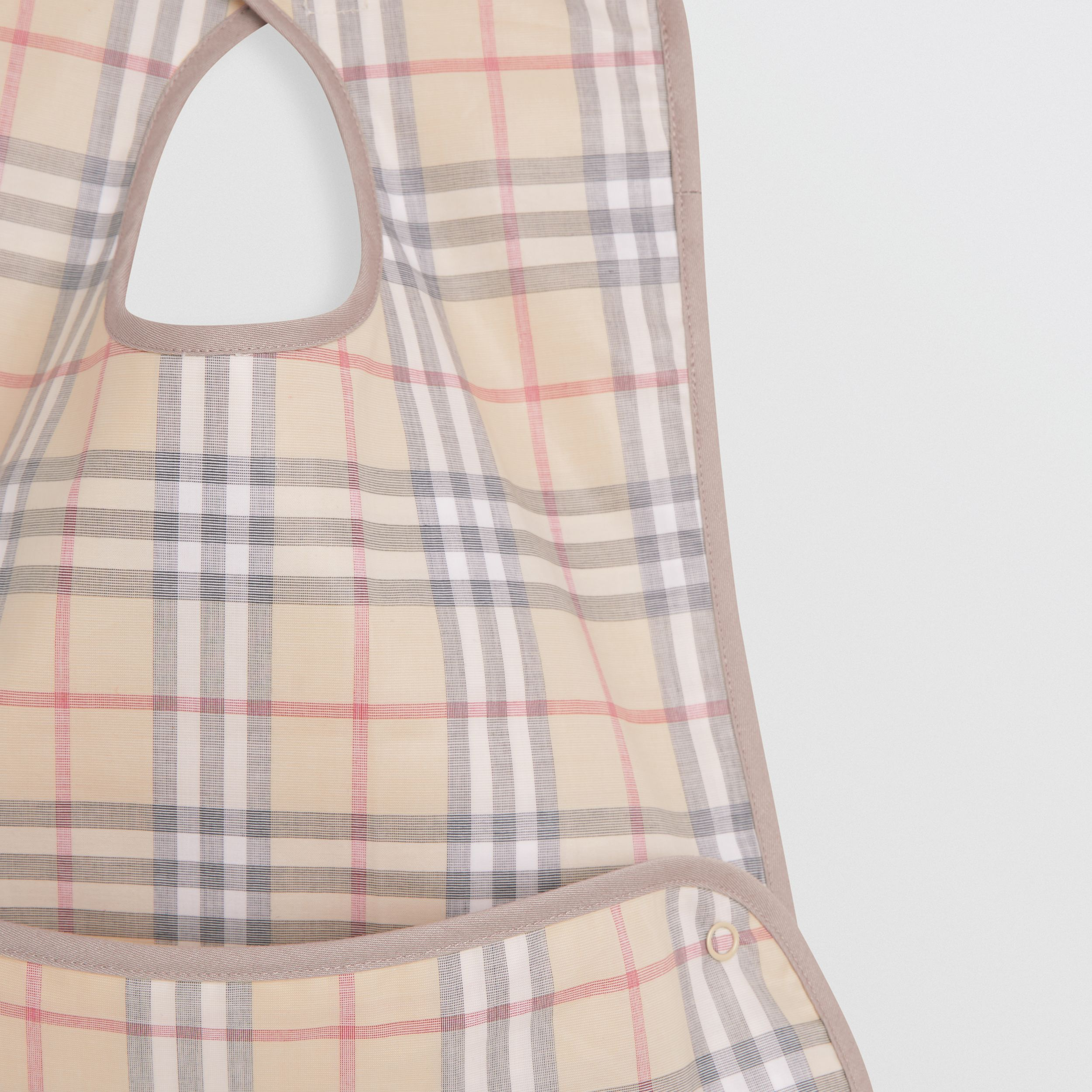 Coated Check Cotton Baby Bib in Pale Stone - Children | Burberry - 4