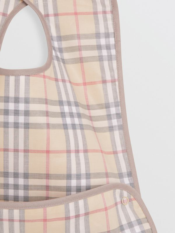 Coated Check Cotton Baby Bib in Pale Stone - Children | Burberry - cell image 3