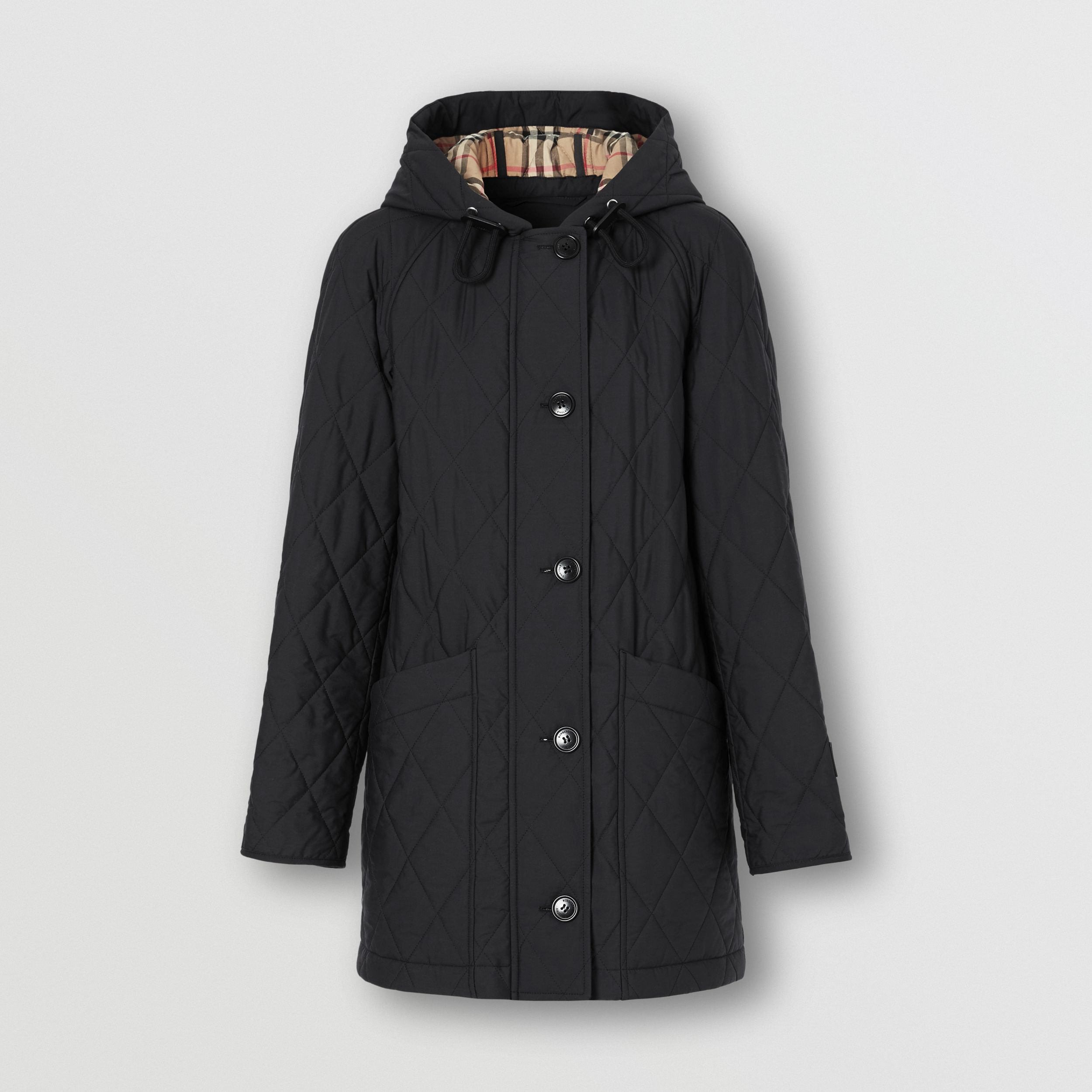 Diamond Quilted Cotton Hooded Coat in Black - Women | Burberry - 4
