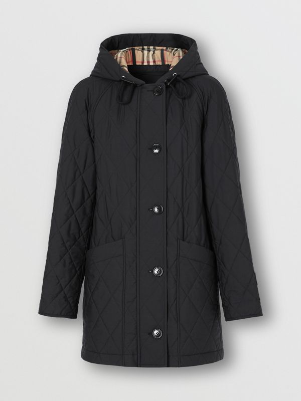 Diamond Quilted Cotton Hooded Coat in Black - Women | Burberry - cell image 3