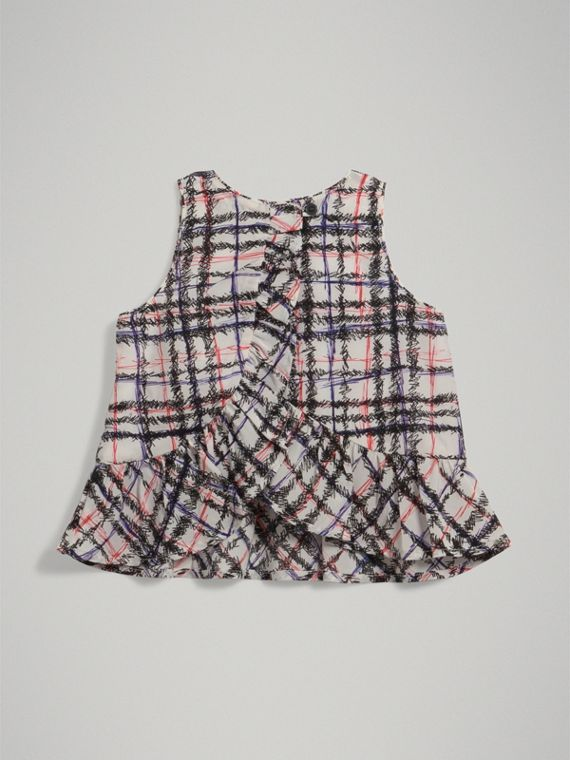 Scribble Check Print Silk Top in Black/white - Girl | Burberry - cell image 3