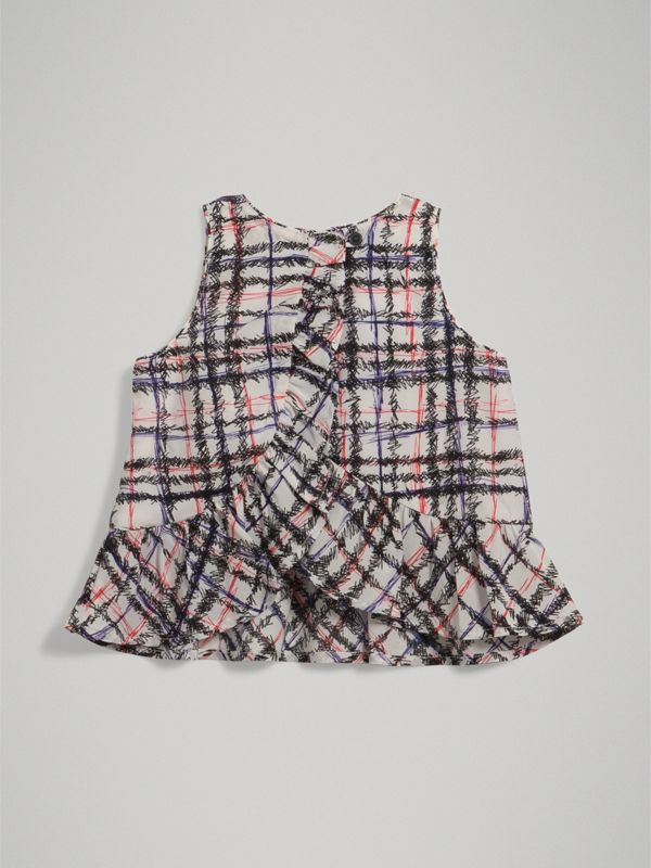 Scribble Check Print Silk Top in Black/white - Children | Burberry - cell image 3