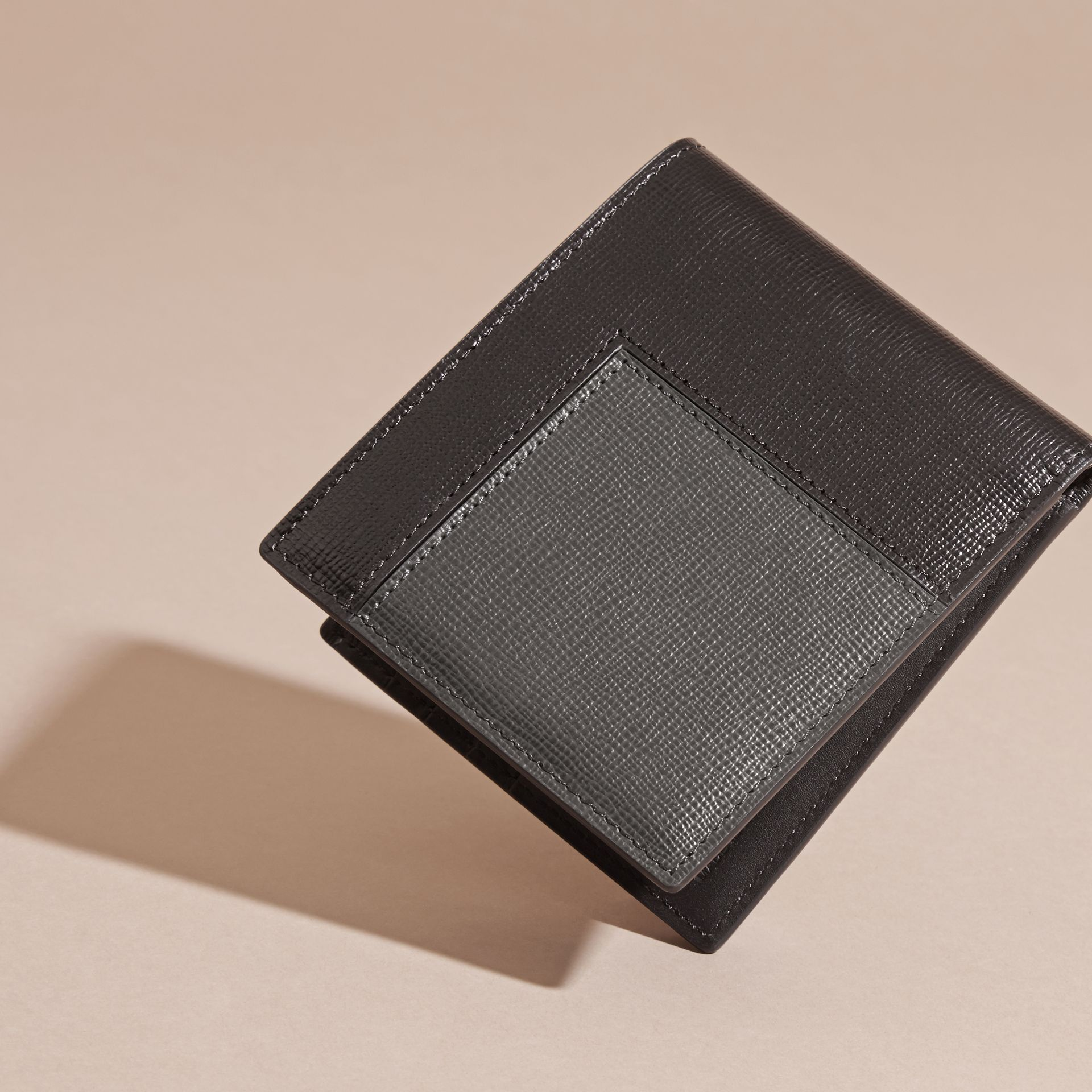Black Patchwork London Leather Folding Wallet Black - gallery image 4