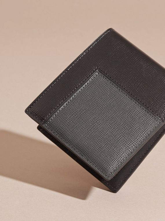 Black Patchwork London Leather Folding Wallet Black - cell image 3