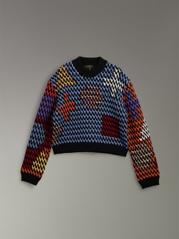 Multicoloured Cable Knit Wool Sweater in Powder Blue/multicolour