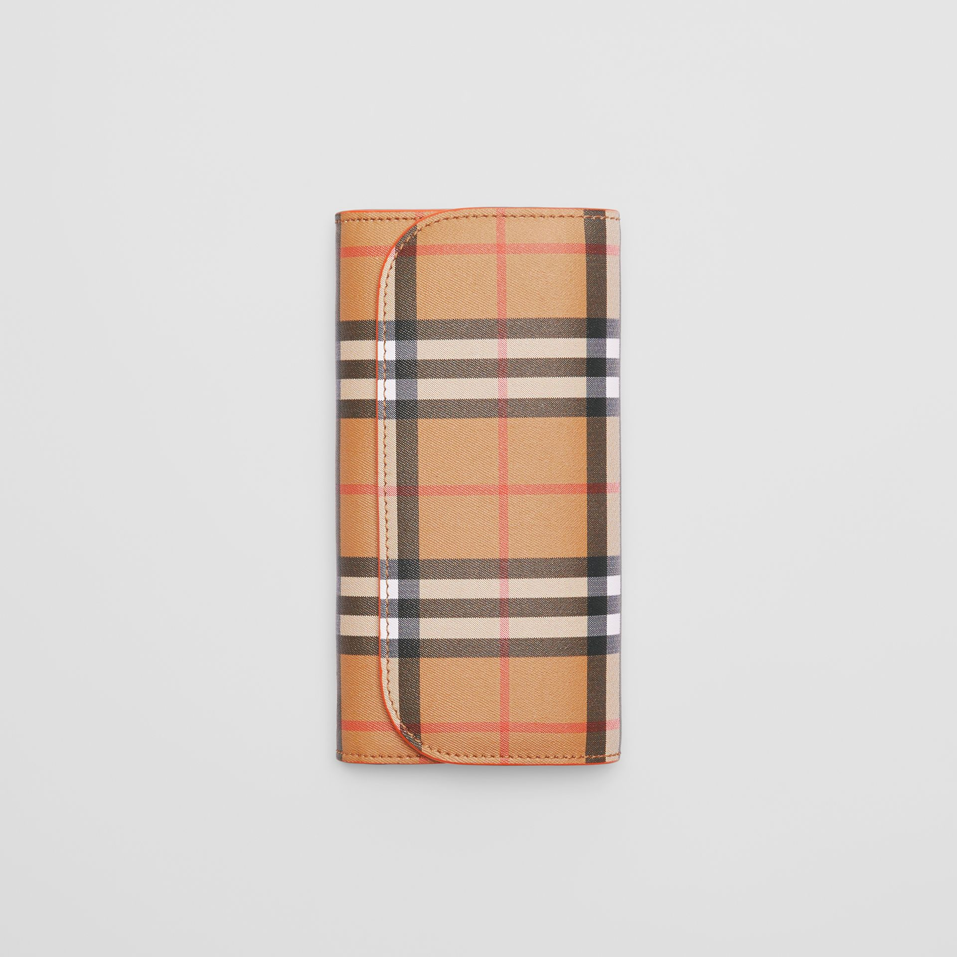 Vintage Check and Leather Continental Wallet in Clementine - Women | Burberry Australia - gallery image 3