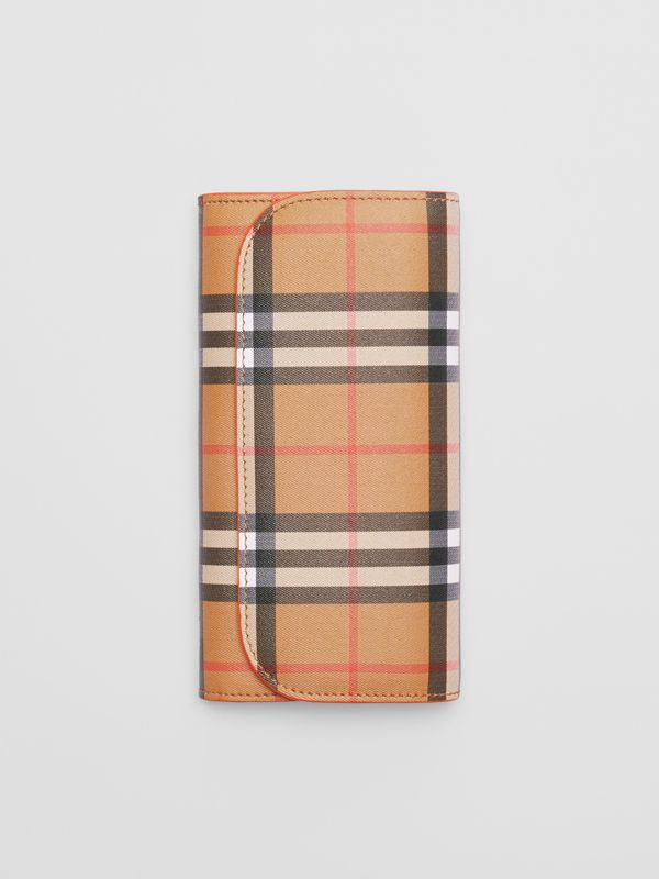 Vintage Check and Leather Continental Wallet in Clementine - Women | Burberry Australia - cell image 3