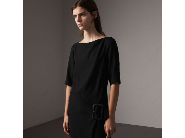 Belted Crepe Shift Dress in Black - Women | Burberry - cell image 4