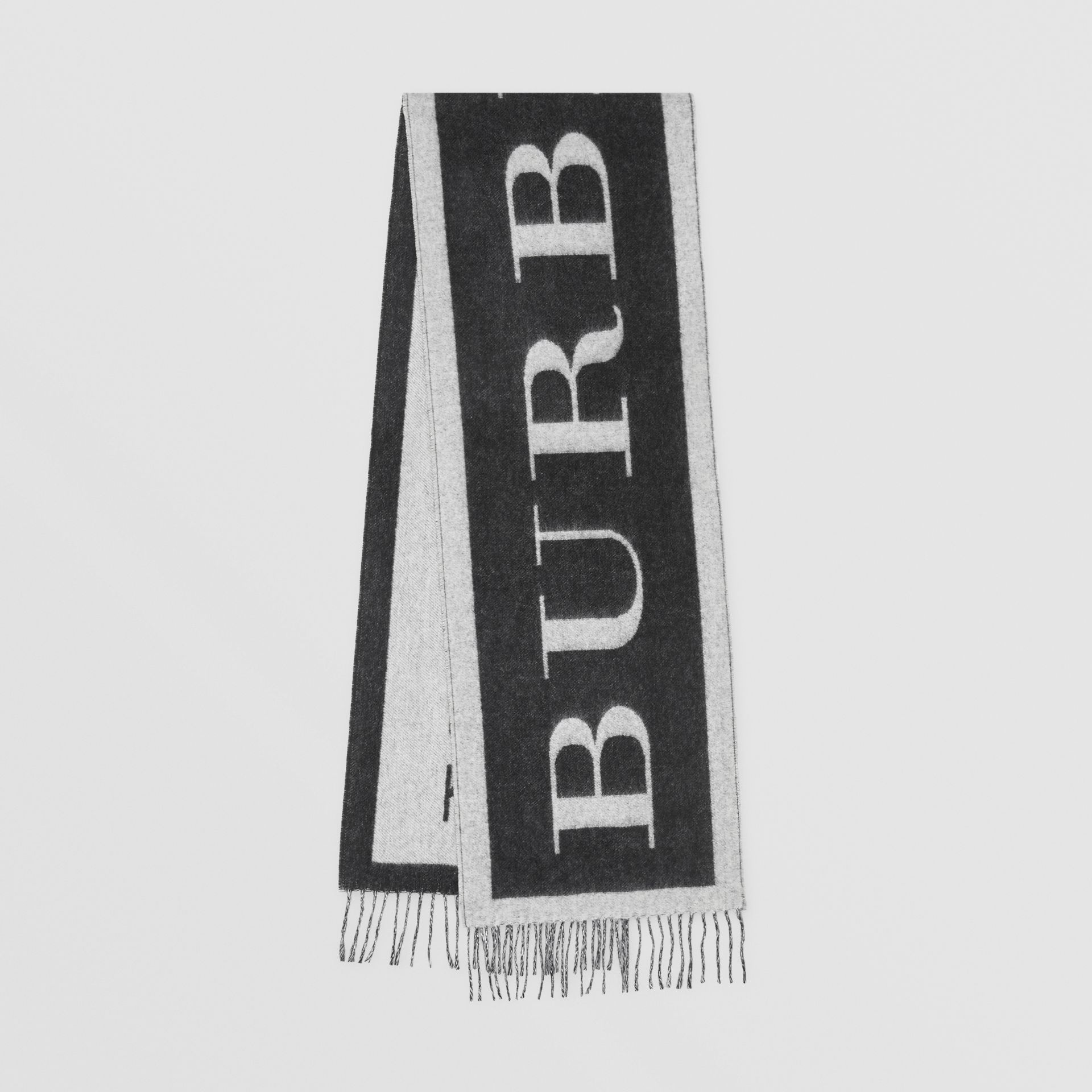 Logo Cashmere Wool Jacquard Scarf in White/black | Burberry United Kingdom - gallery image 0