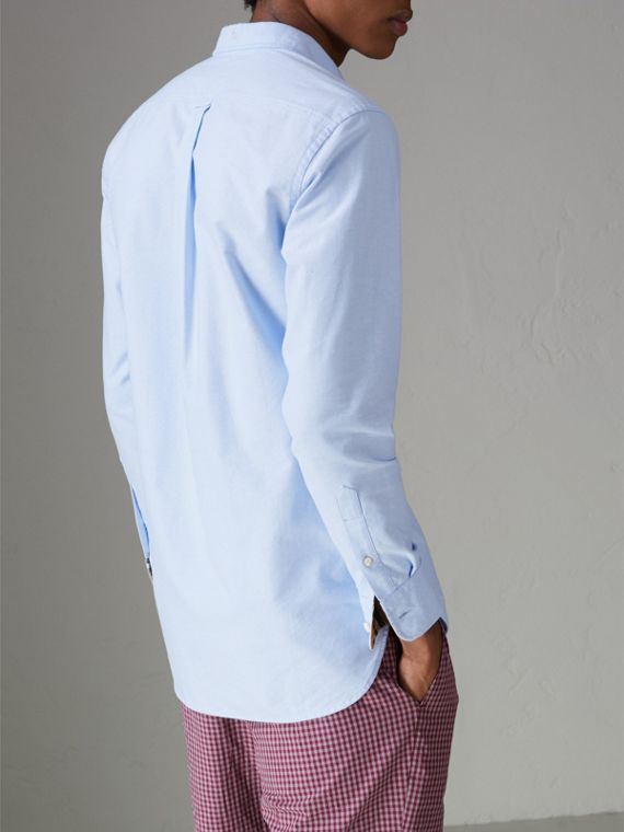 Check Cuff Cotton Oxford Shirt in Cornflower Blue - Men | Burberry - cell image 2