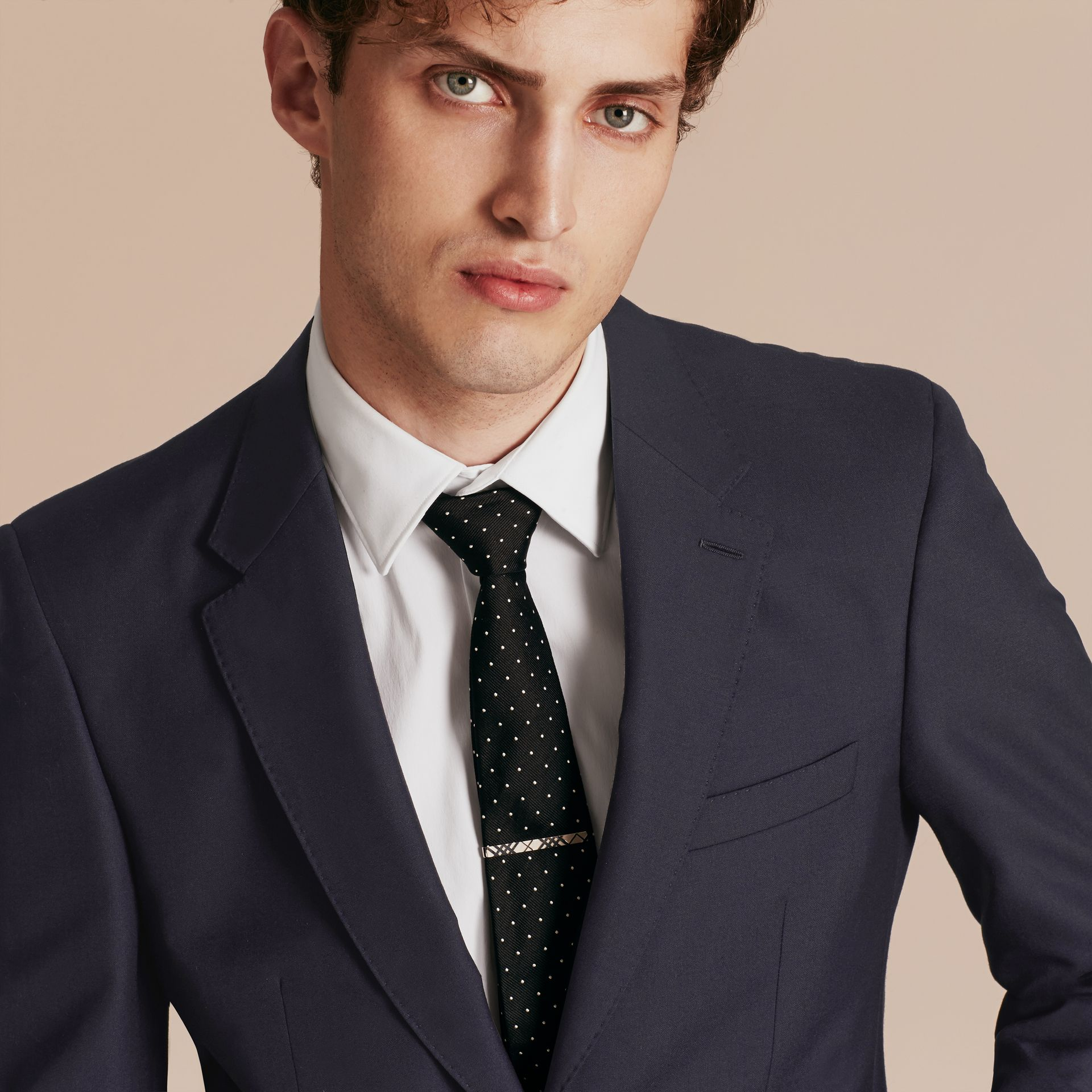 Navy Modern Fit Wool Part-canvas Suit Navy - gallery image 5